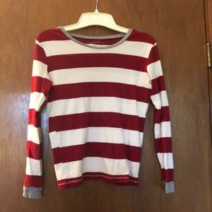 Red and white striped Burts Bees shirt